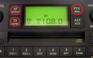 Какие функции на магнитоле выполняют кнопки PTY, TA и TF?